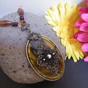 Oval Lucite Resin Amber Pendant on Agate Necklace